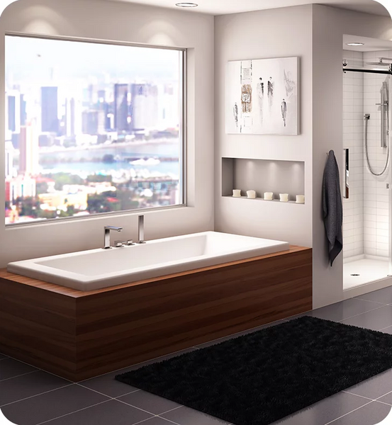 "Produits Neptune Zen 72"" White Customizable Drop-in Rectangular Bathtub with Armrests and 2"" Top Lip ZEN32722W"