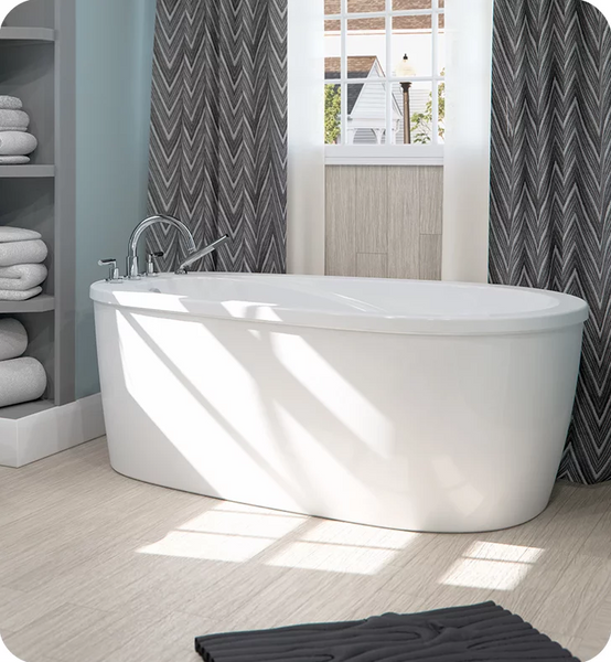 "Produits Neptune Two Pieces Vapora 66"" White Customizable Free Standing Oval Bathtub VA3666F2"