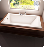 "Produits Neptune Zen 66"" White Customizable Drop-in Rectangular Bathtub with Armrests and 2"" Top Lip ZEN32662W"