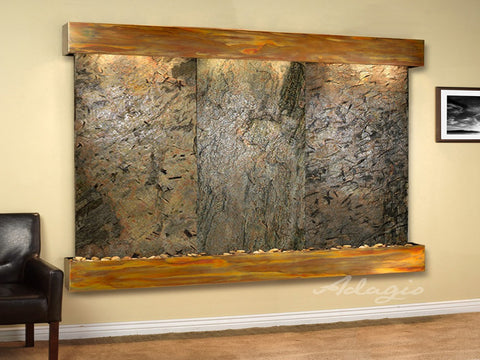 Adagio Solitude River Square Rustic Copper Green Natural Slate SRS1002