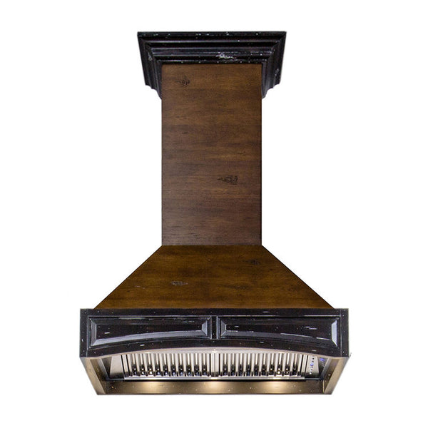ZLINE Wooden Wall Mount Range Hood in Antigua and Walnut  Includes CFM Remote Motor 321AR-RD-30