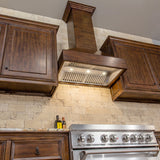 ZLINE Wooden Wall Mount Range Hood in Walnut and Hamilton - Includes CFM Remote Motor 355WH-RD-30