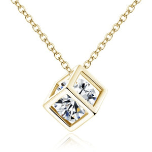 Zircon Gold Box Pendant Necklace