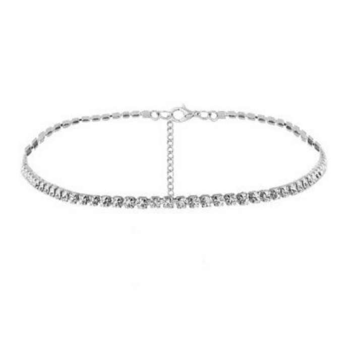 CZ Rhinestone Tennis Choker Necklace