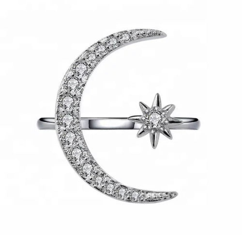 Crystal Moon Star Ring