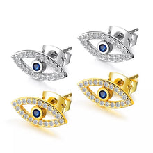 Load image into Gallery viewer, Plated Silver Zircon Evil Eye Stud Earrings