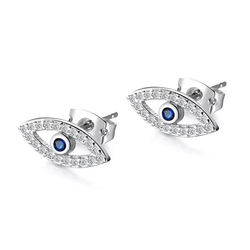 Plated Silver Zircon Evil Eye Stud Earrings