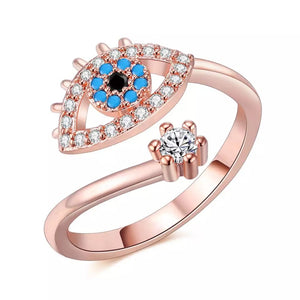 Rose Gold Plated CZ Evil Eye Ring