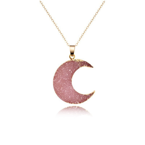 Crescent Moon Rose Quartz Stone Pendant Necklace