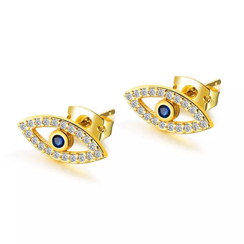 Gold Zircon Evil Eye Stud Earrings