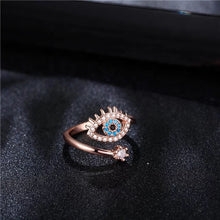 Load image into Gallery viewer, Rose Gold Plated CZ Evil Eye Ring