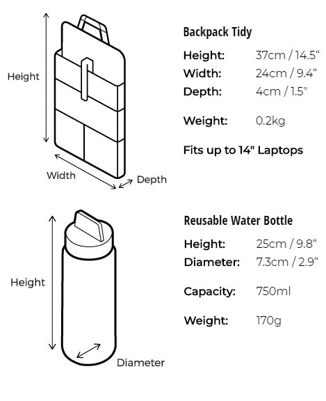 Backpack Tidy and Water Bottle Size Guide