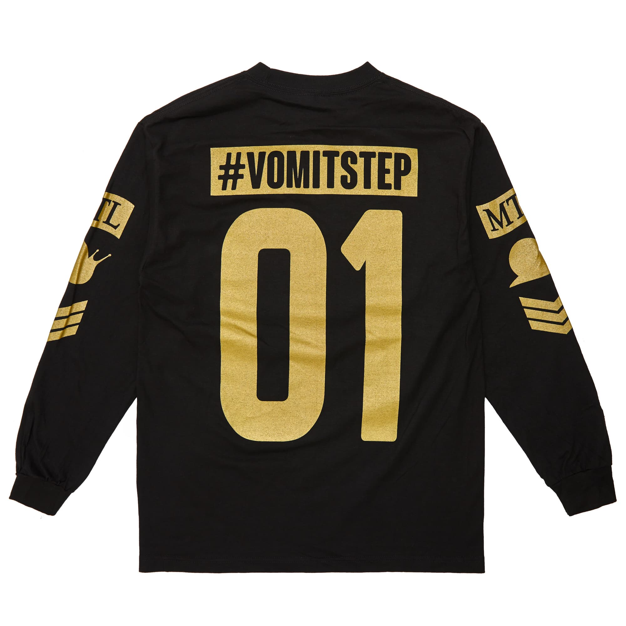 'Vomitstep' Long Sleeve Tee - Black/Gold