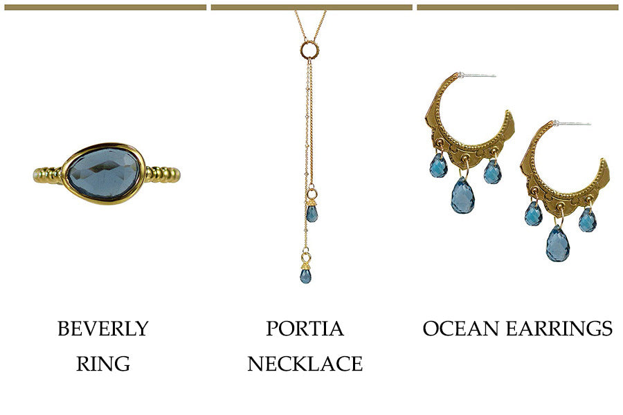 Lulu Designs Jewerly's Beverly Ring Portia Necklace and Ocean Earrings in London Blue Topaz