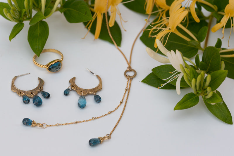 Lulu Designs Jewelry's Beverly Ring, Portia Necklace and Ocean Earrings in London Blue Topaz