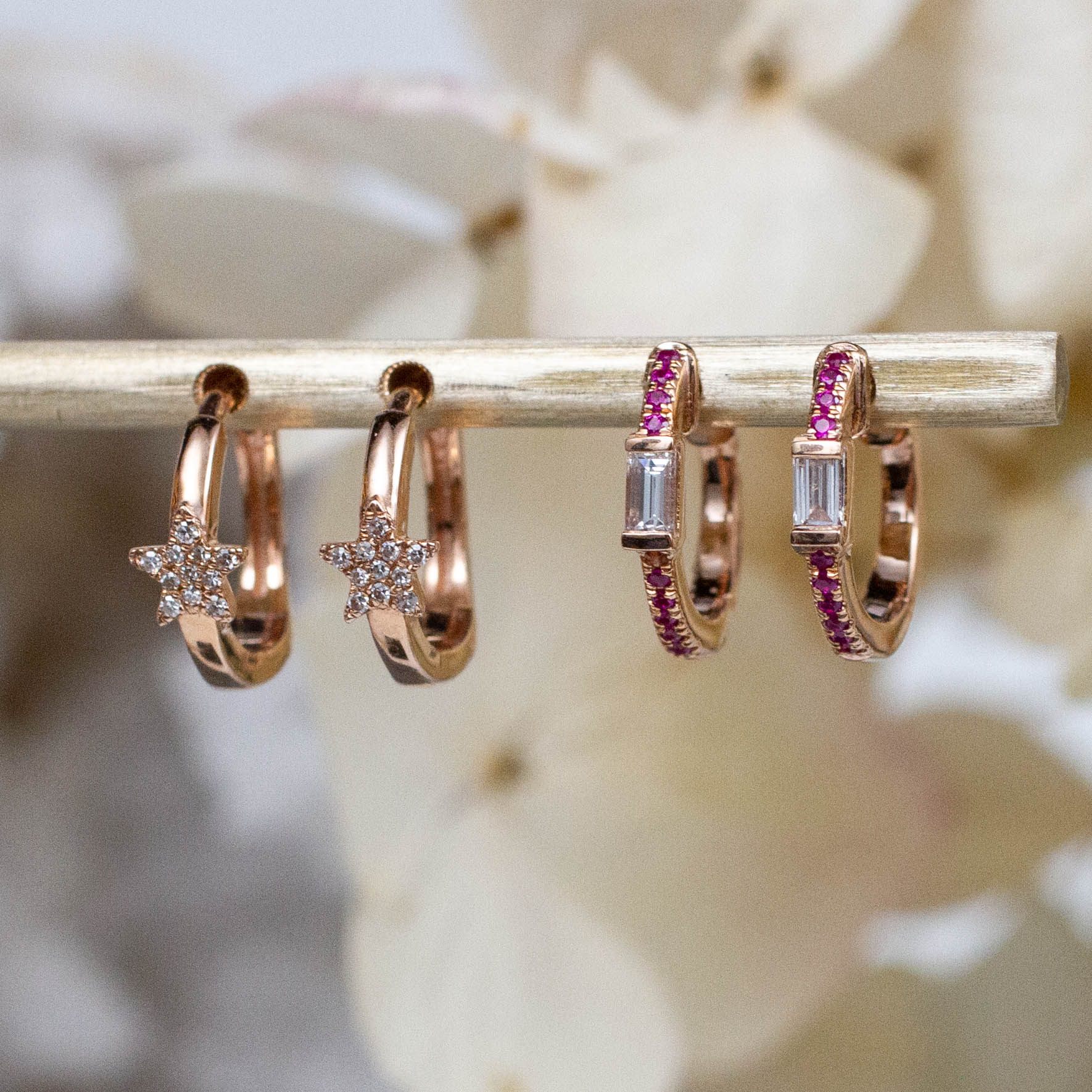 14K Diamond Baguette & Ruby Huggie Hoops