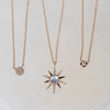 14K Diamond & Rainbow Moonstone Sun Necklace