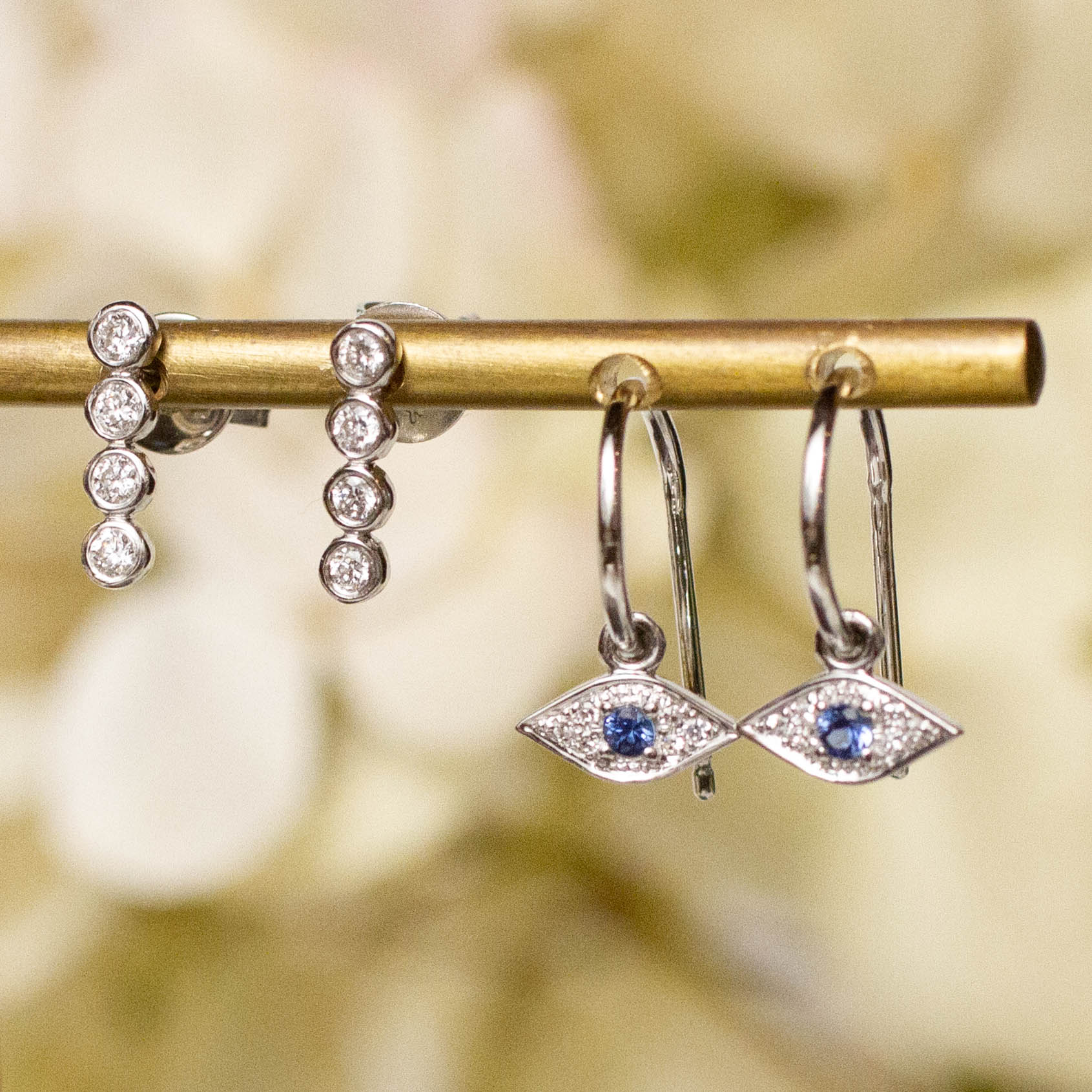 14K Diamond Eye Charm Hoop Posts