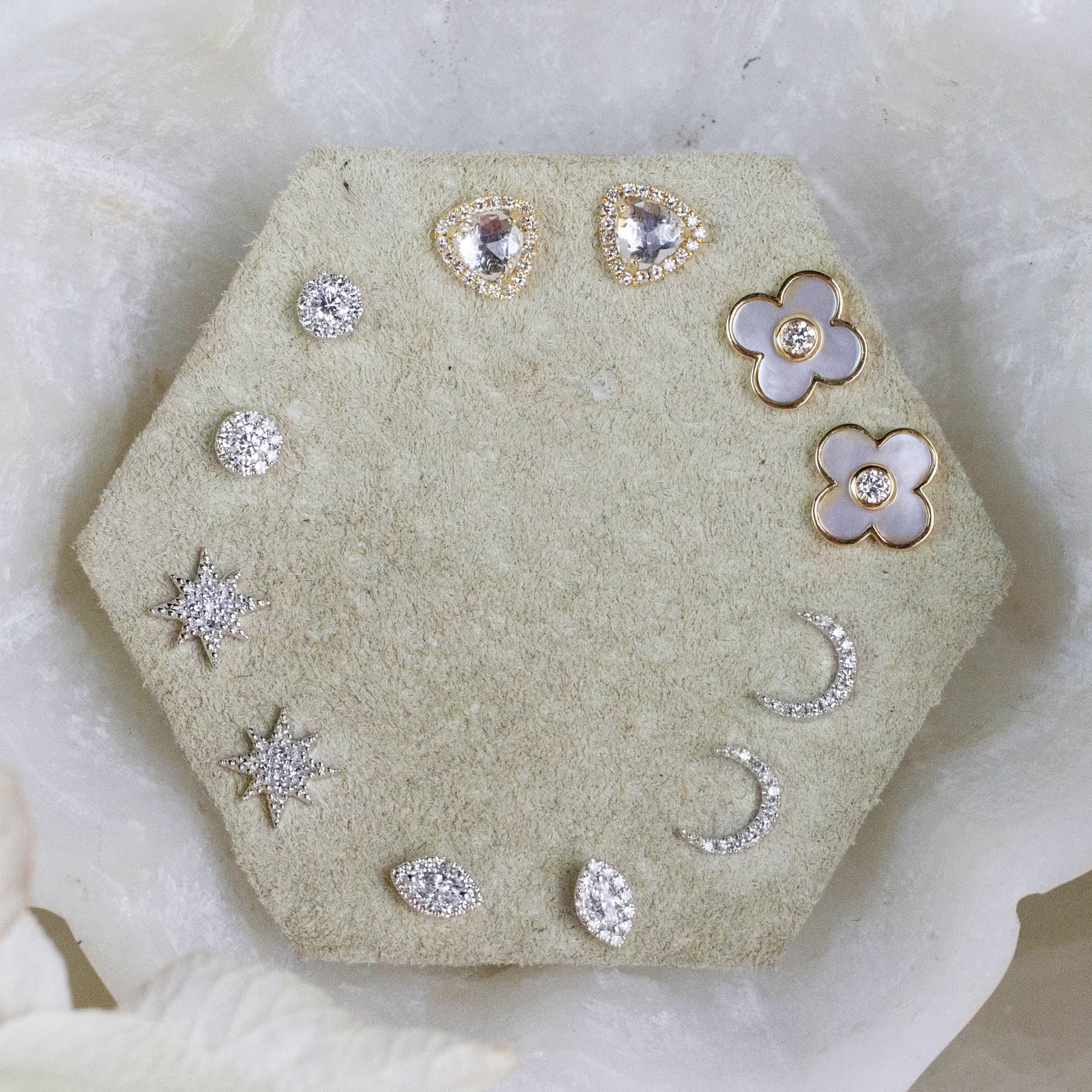 14K Diamond & Mother Of Pearl Flower Posts