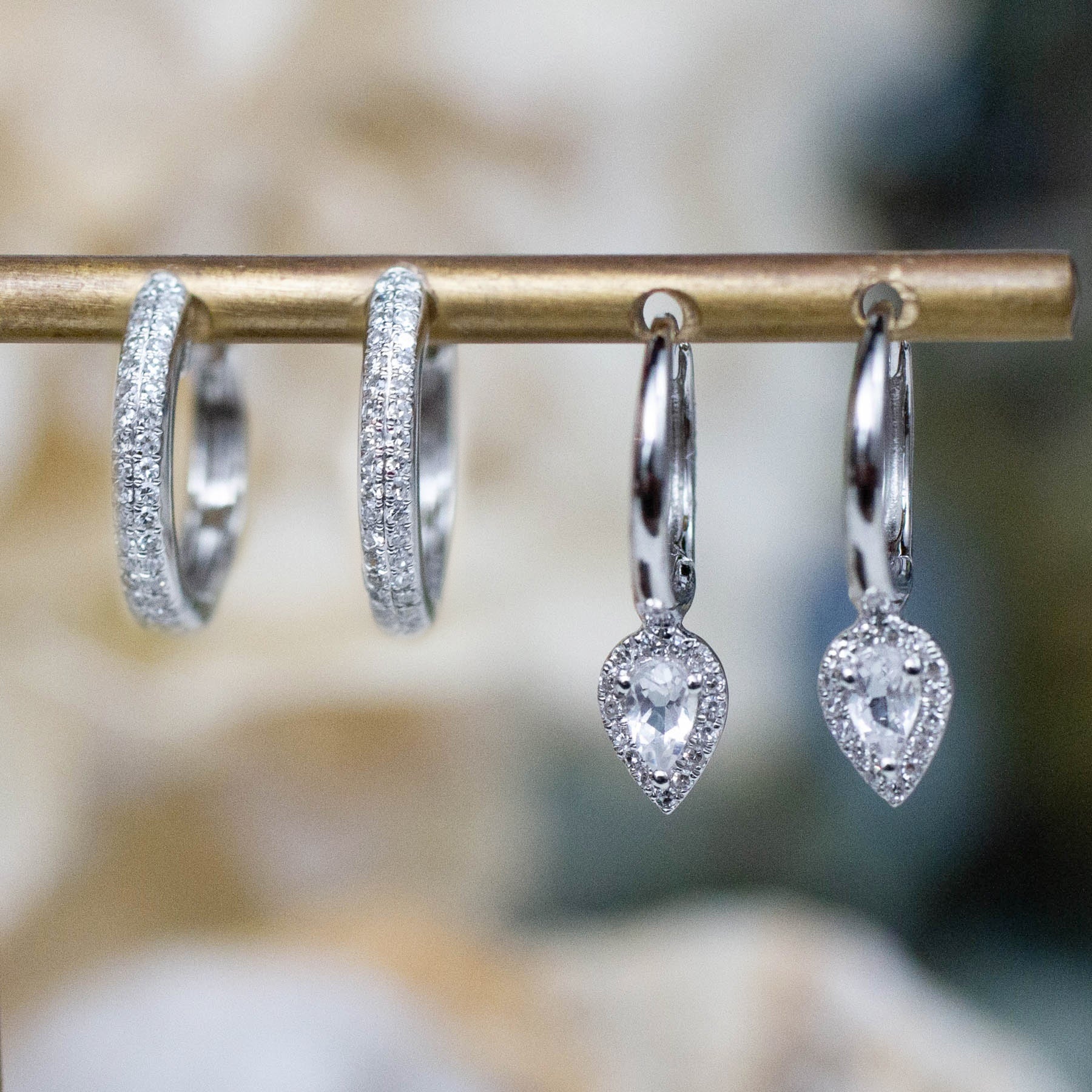 14K Diamond & White Topaz Teardrop Huggie Hoops