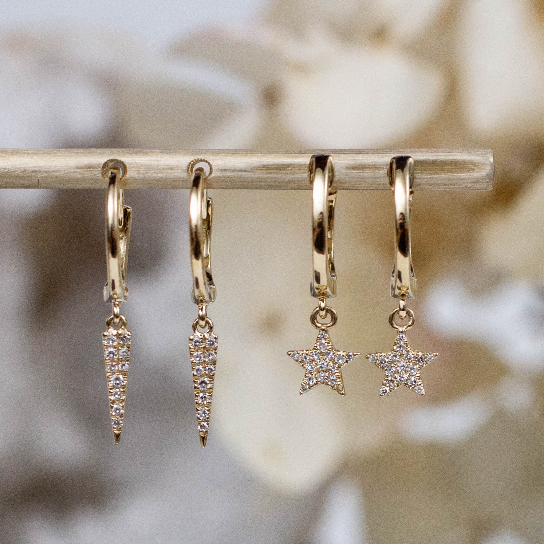 14K Diamond Star Charm Huggie Hoops