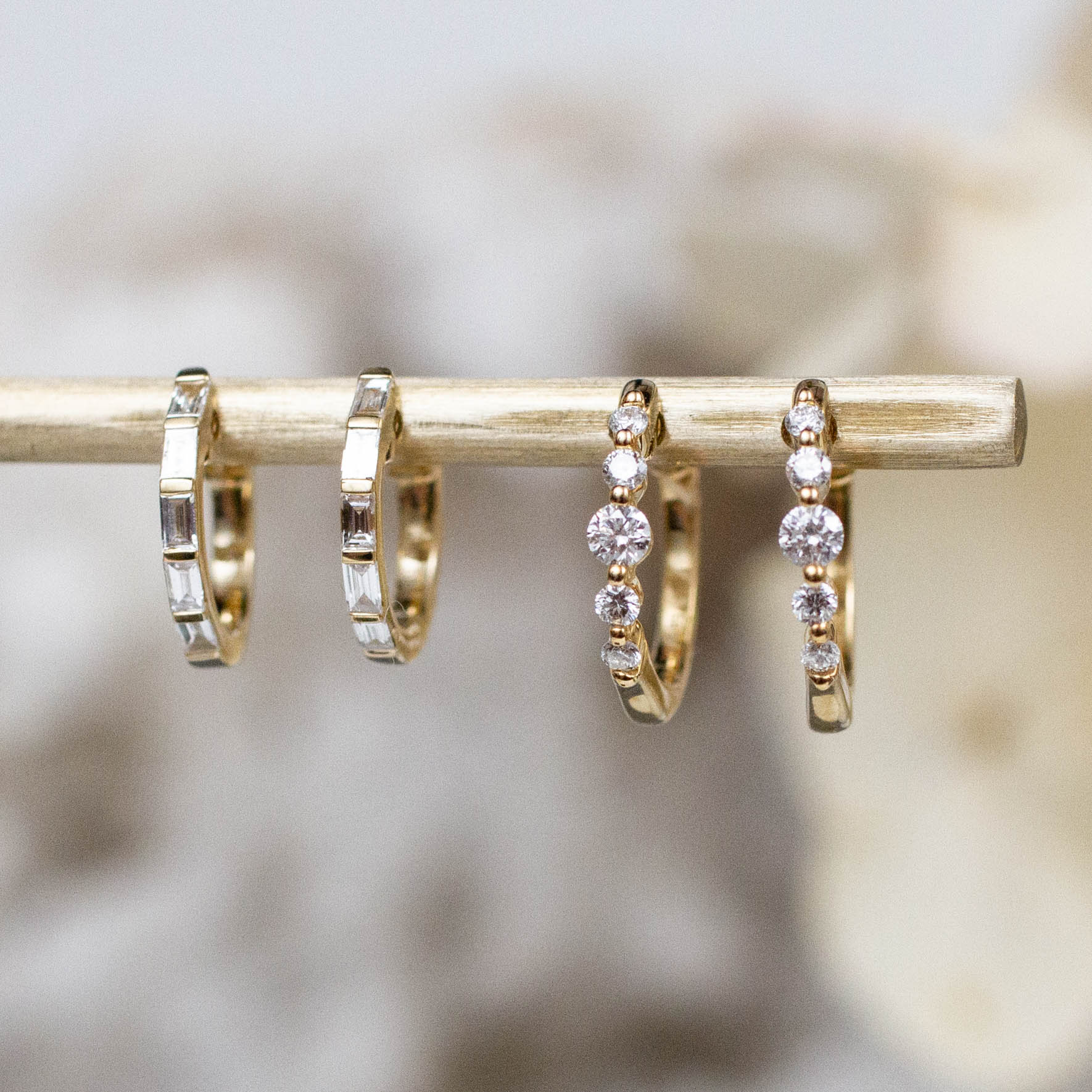 14K Diamond Baguette Huggie Hoops