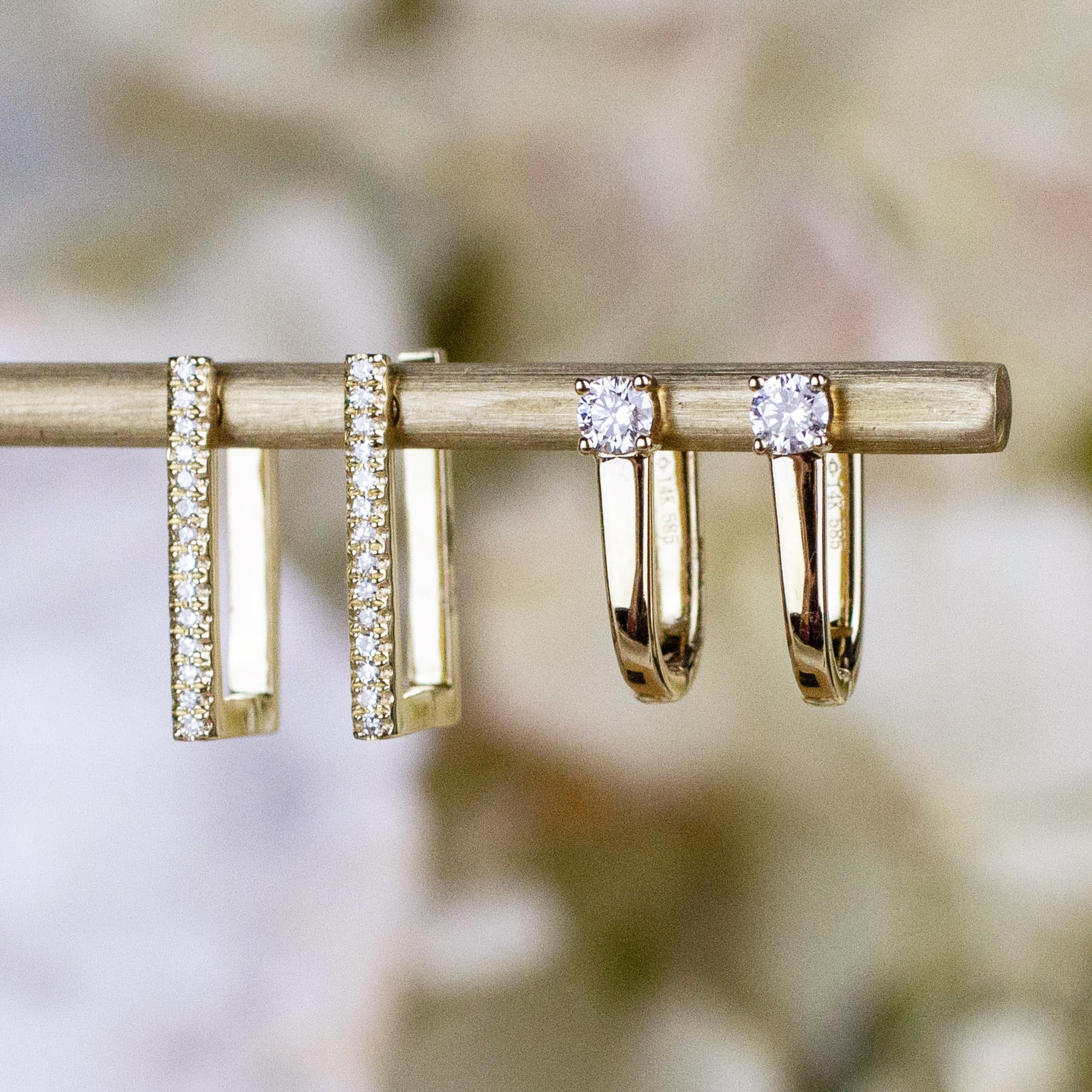 14K Diamond Modern Huggie Hoops