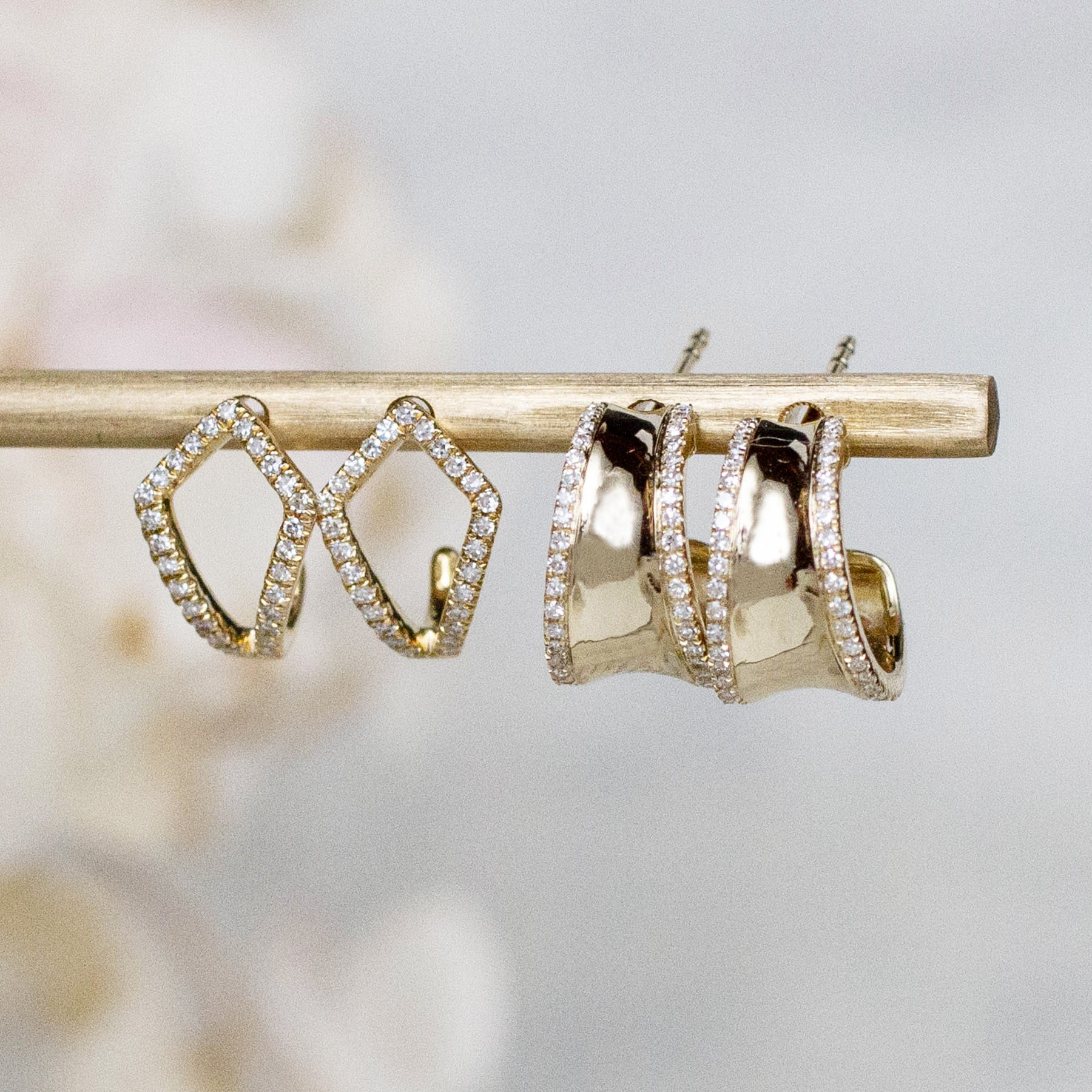 14K Diamond Tapered Edge Hoops