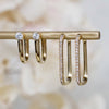 14K Diamond Soft Square Huggie Hoops
