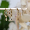 14K Diamond Charm Huggie Hoops