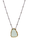 2020 Atlantis Necklace Oxidized Sterling Silver Aqua Chalcedony