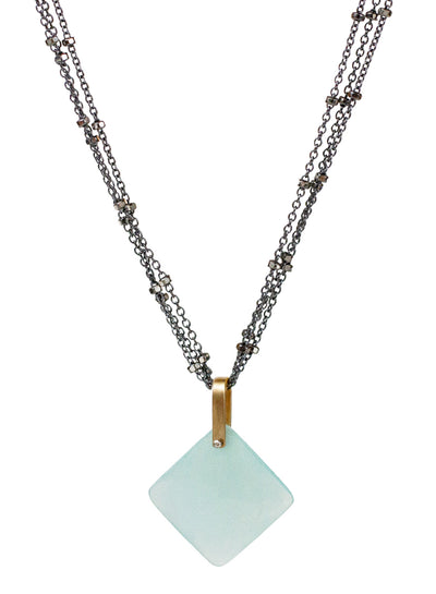 2020 Lulu Designs Hera Necklace Oxidized Sterling Silver Aqua Chalcedony