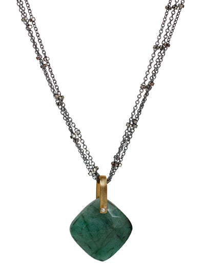 2020 Lulu Designs Hera Necklace Oxidized Sterling Silver Emerald