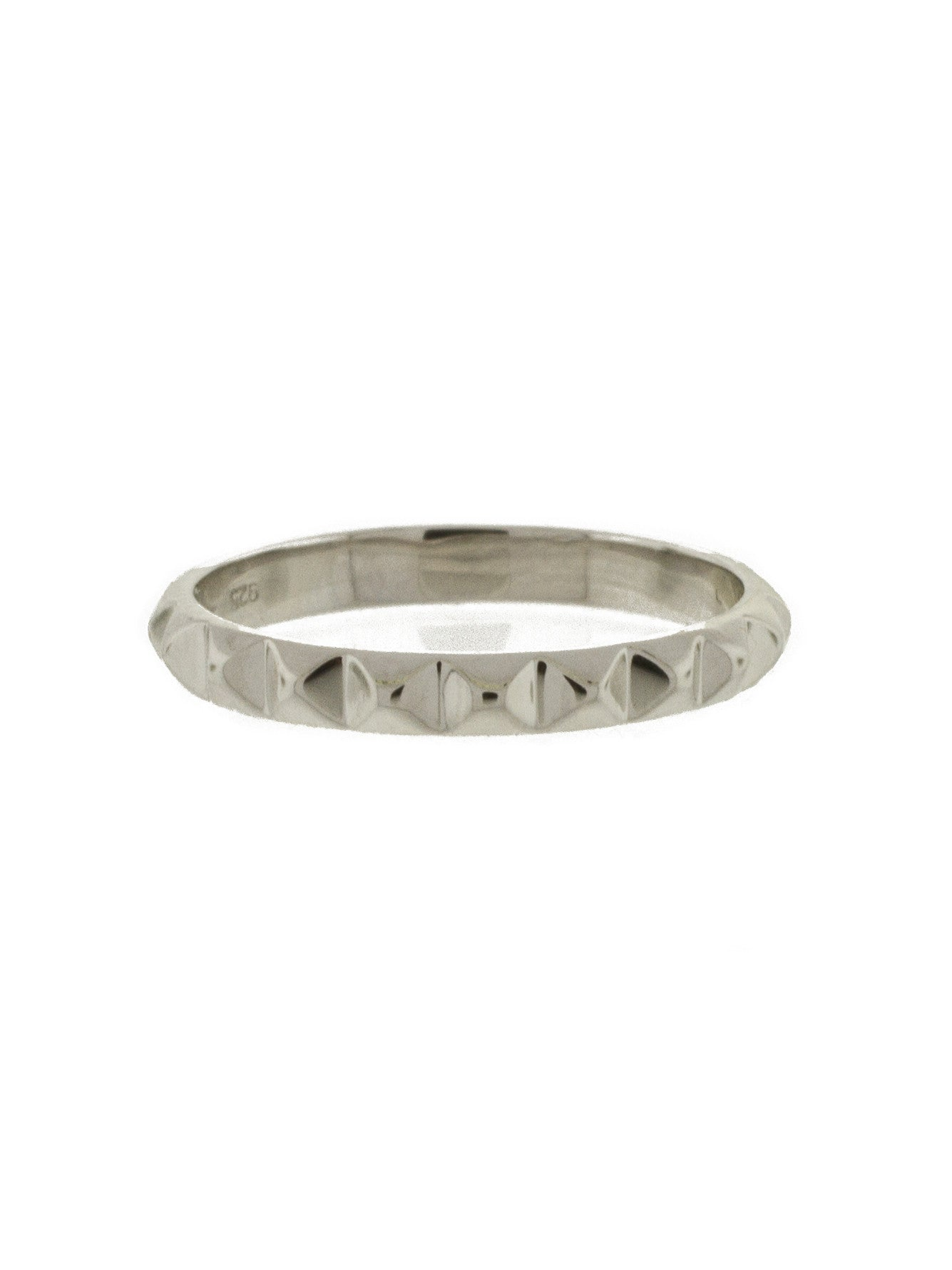 pyramid ring Sterling silver Silver studded ring Stacking ring textured ring stud ring
