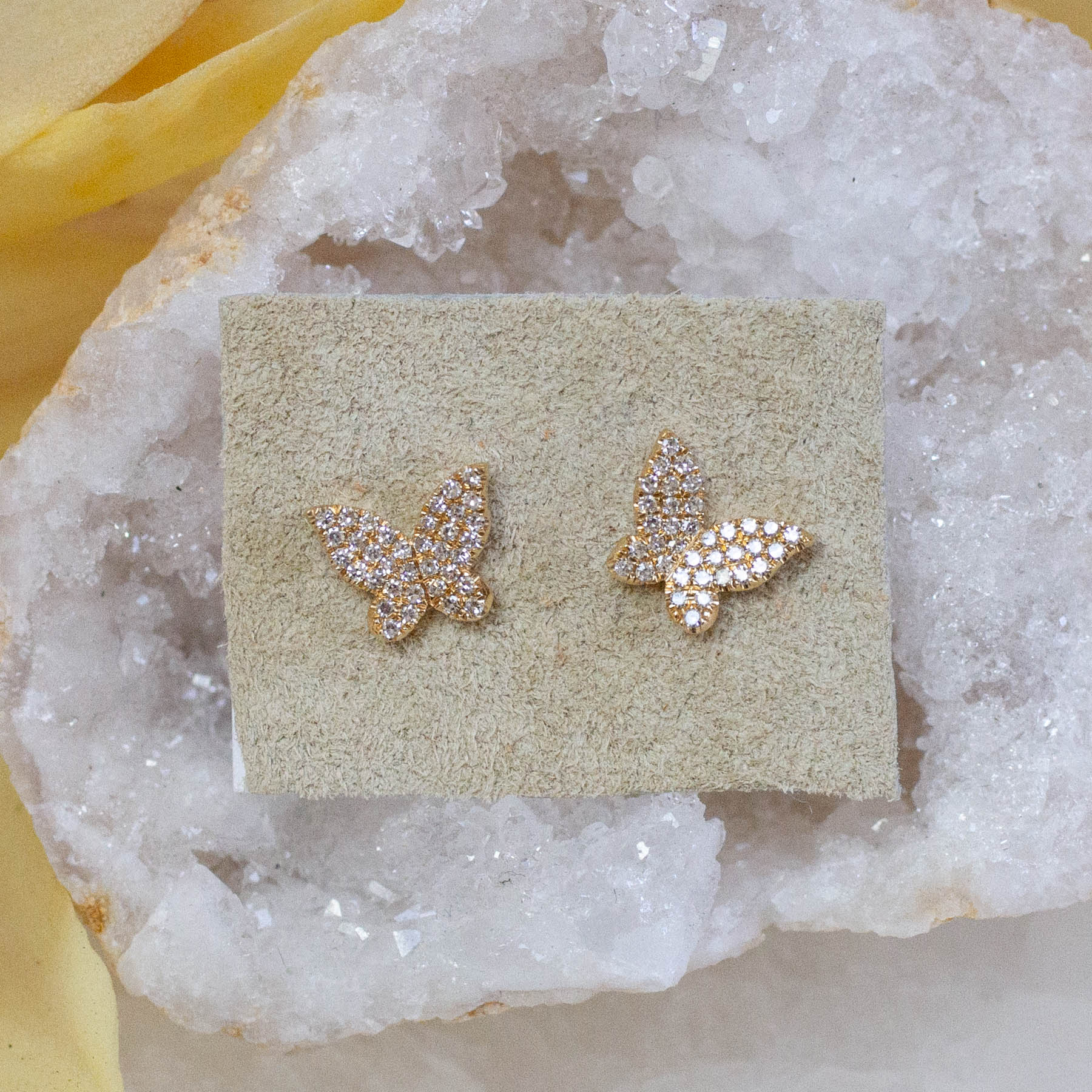 14K Diamond Butterfly Posts
