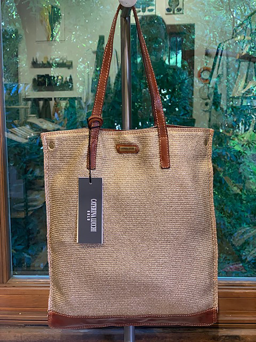 Gold Spray Linen And Leather Flat Shopping Bag