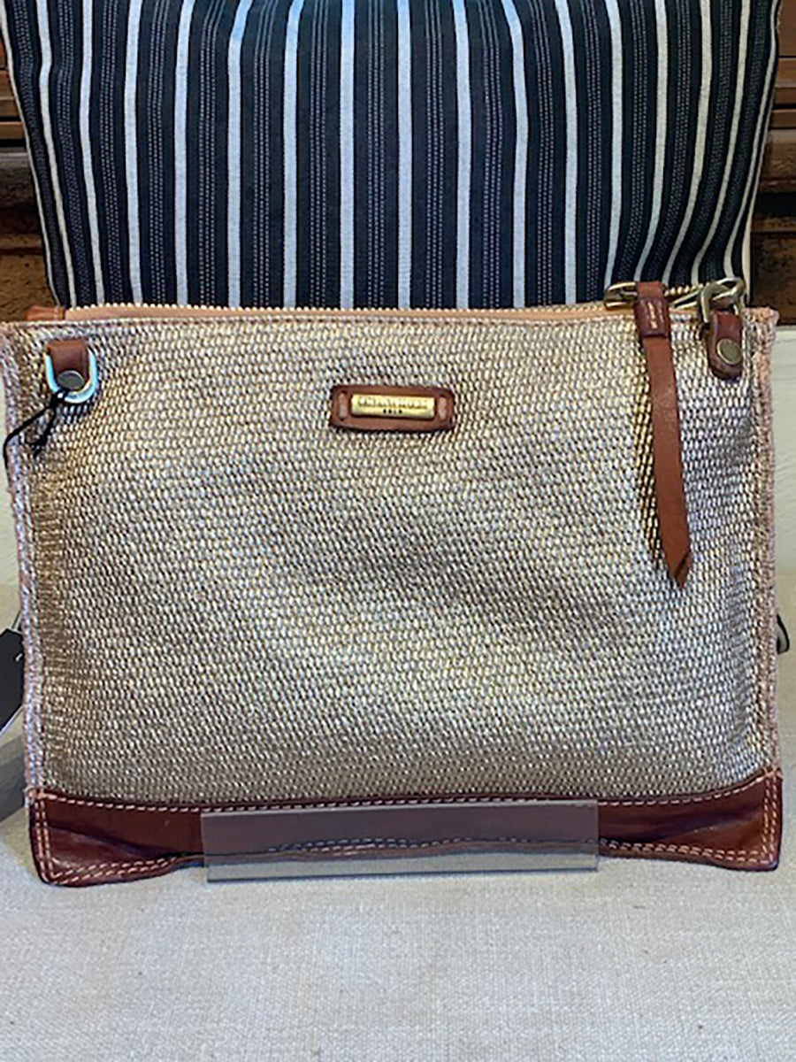Gold Spray Linen And Leather Bag