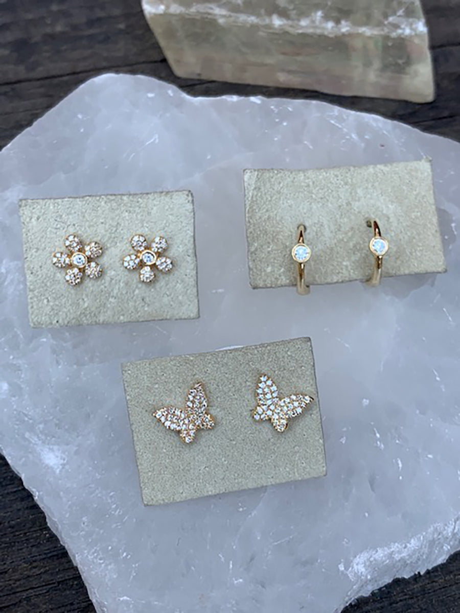 14K Pavé Diamond Flower Earrings