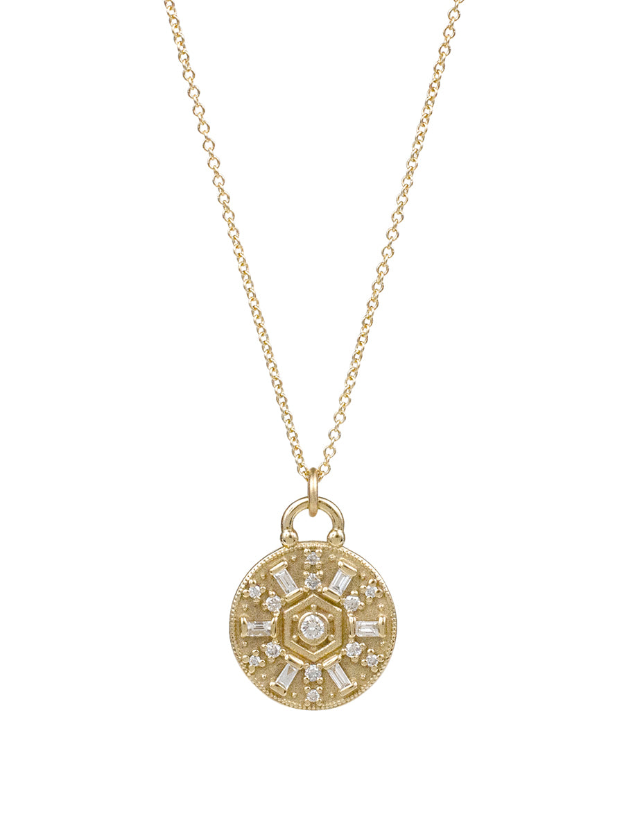 14K Baguette Diamond Raja Necklace