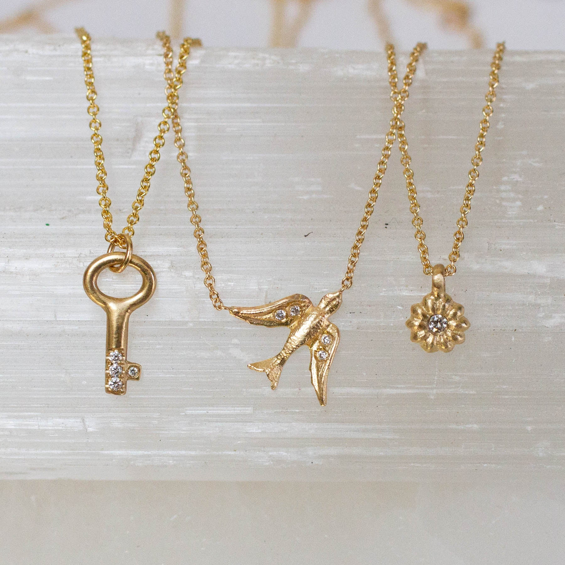 14K Diamond Key Necklace