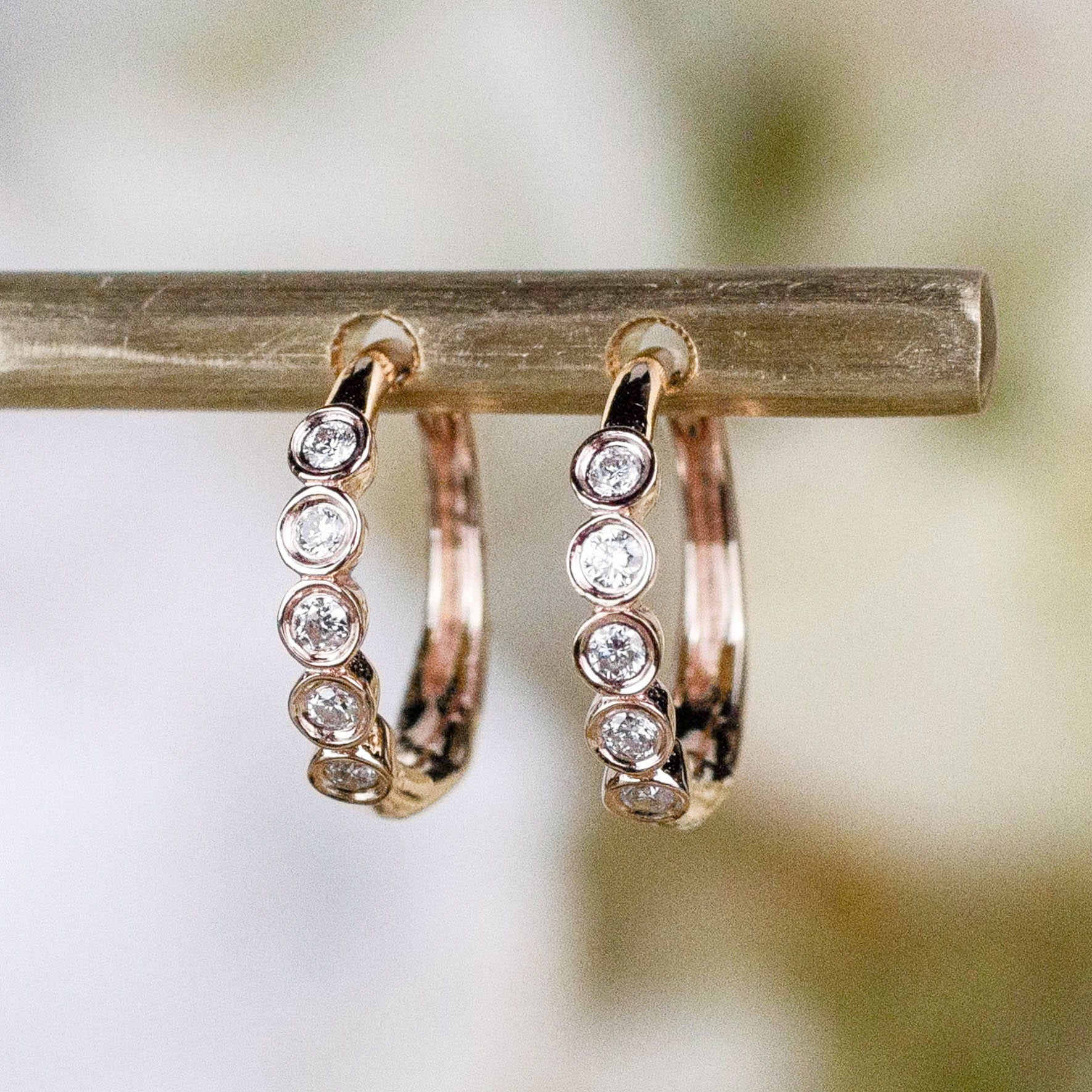 14K Five Diamond Huggie Hoops