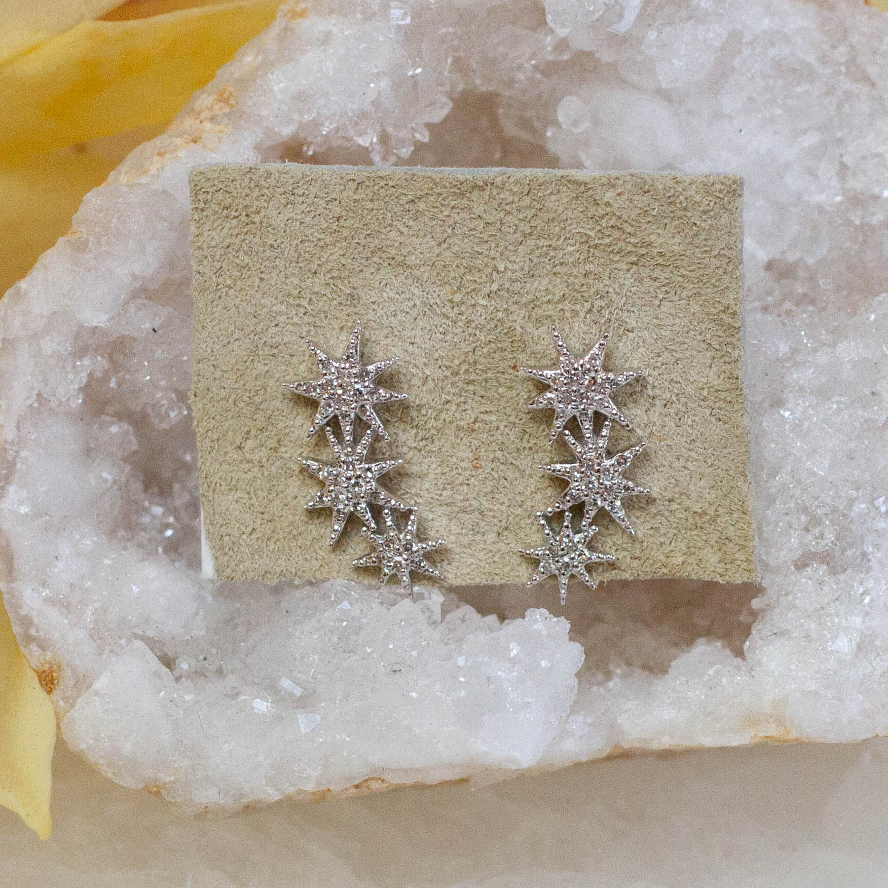 14K Diamond Triple Starburst Posts