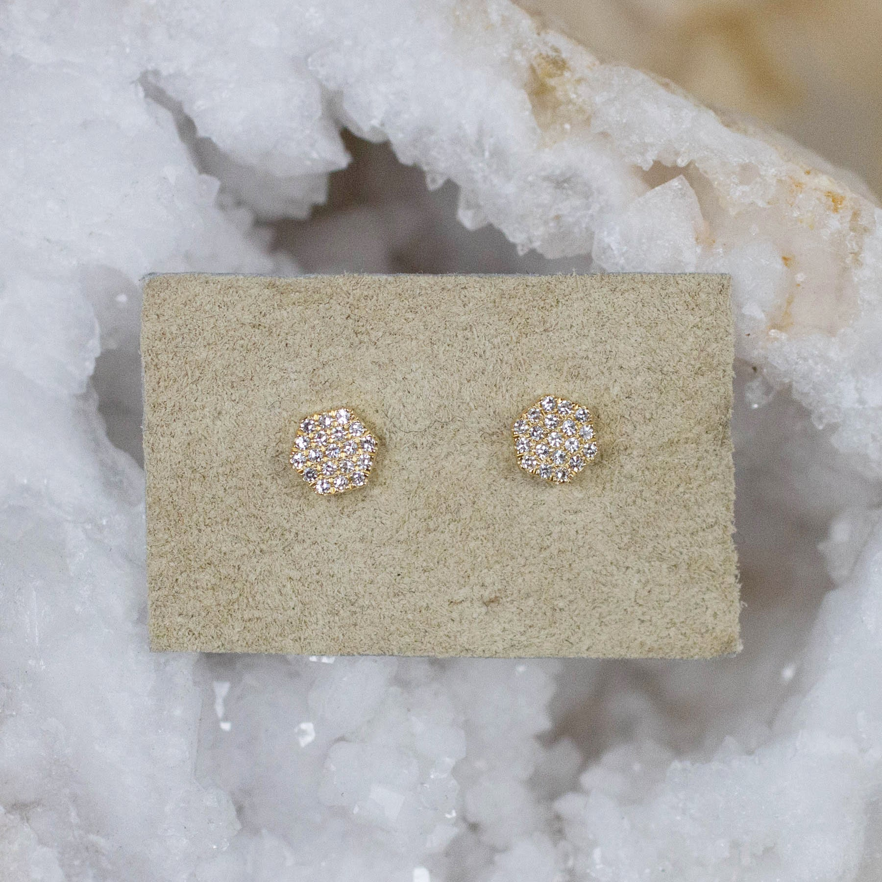 14K Pavé Diamond Hexagon Posts