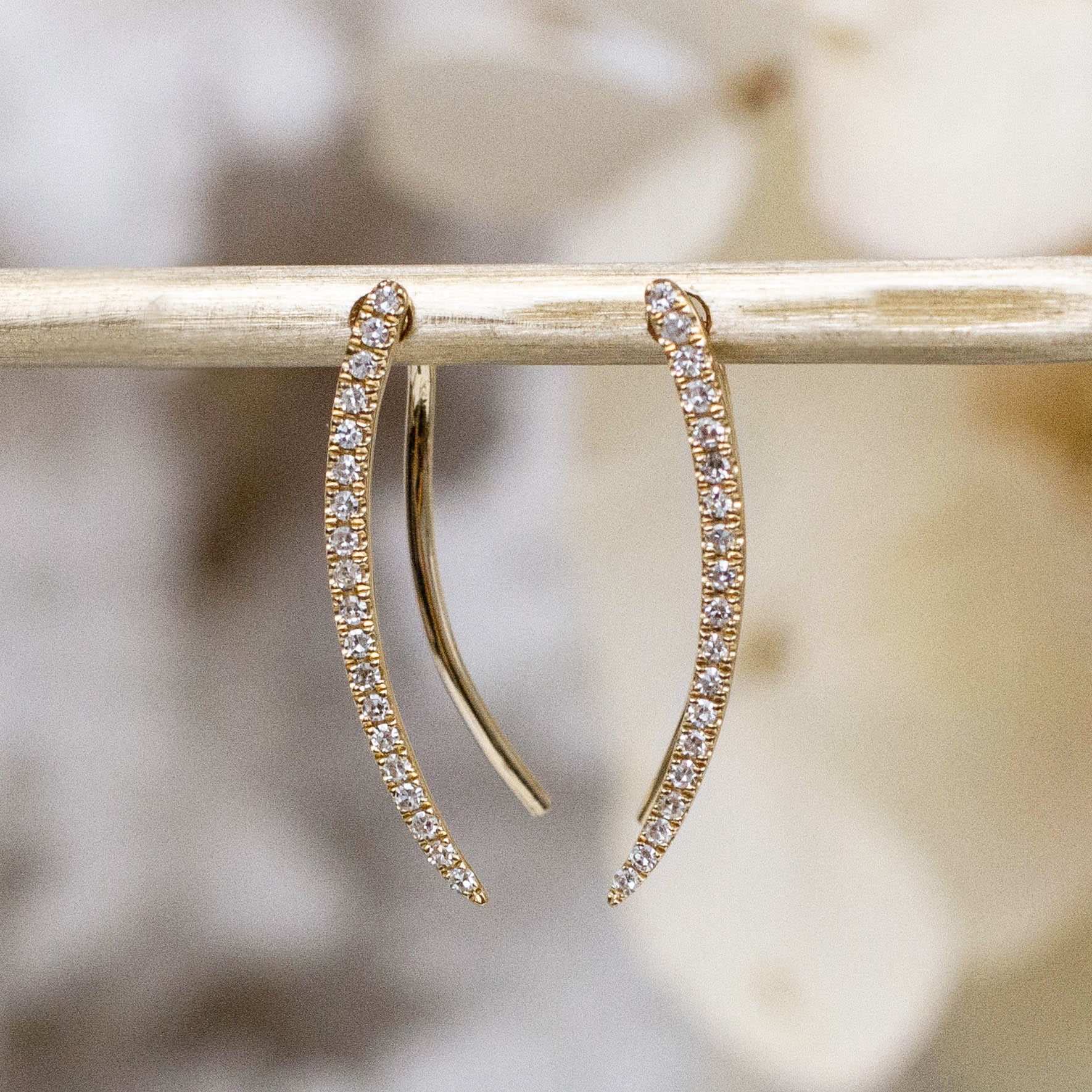 14K Diamond Curved Ear Climber