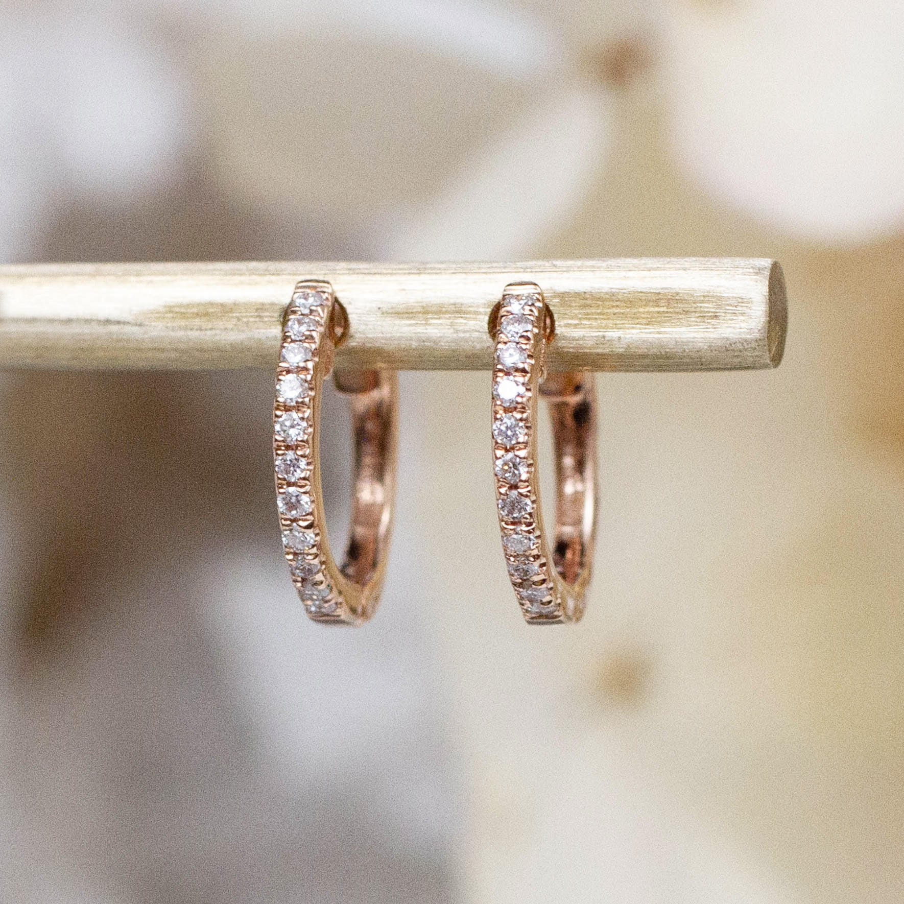 14K Diamond Mini Huggie Hoops