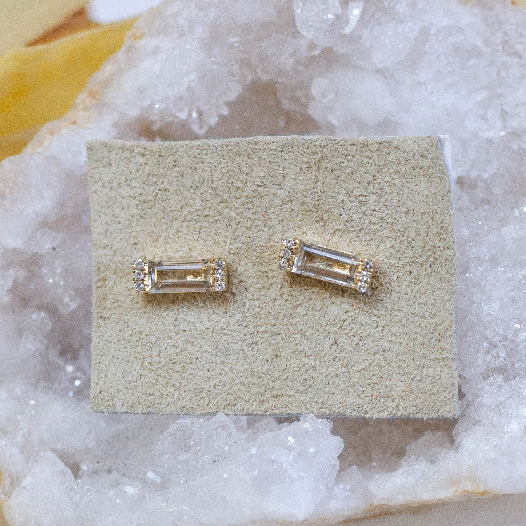 14K Diamond & White Topaz Baguette Posts