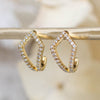 14K Diamond Open Kite Hoop Posts