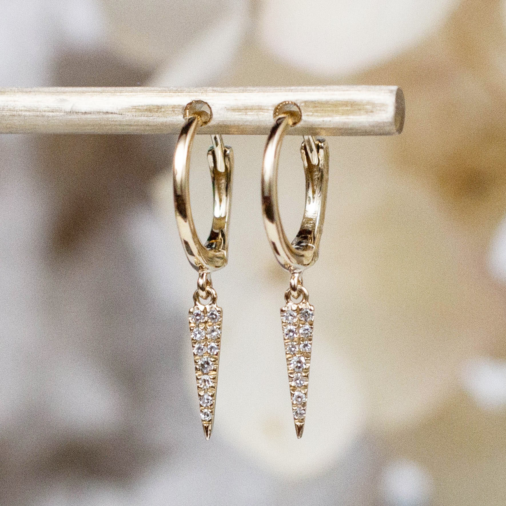 14K Diamond Dagger Huggie Hoops