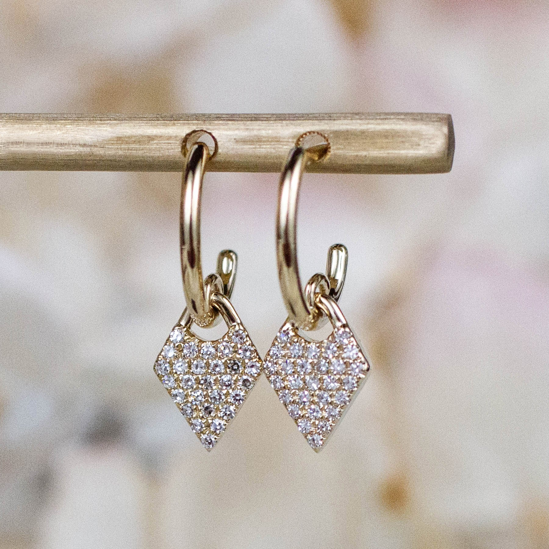 14K Diamond Geometric Charm Hoops