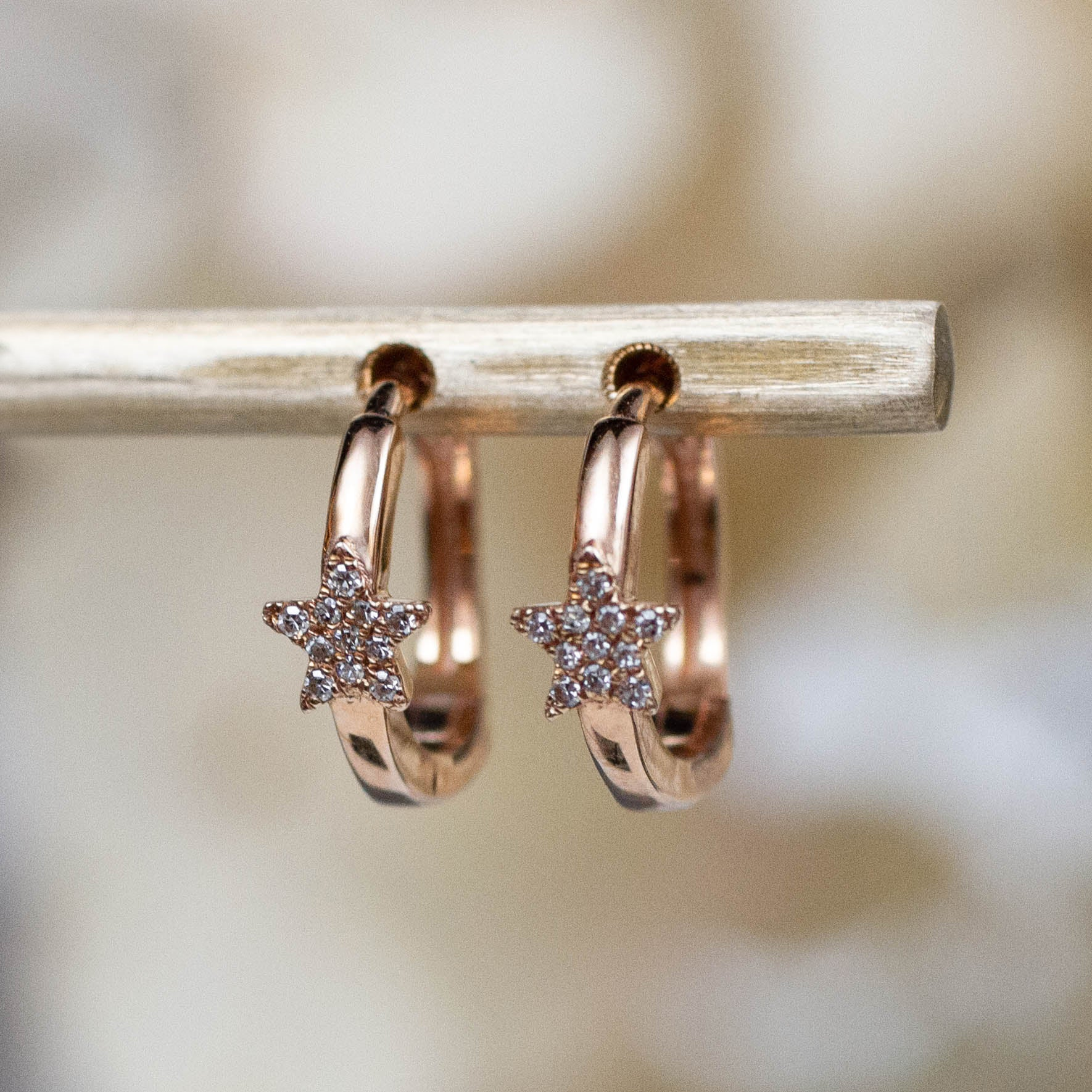 14K Diamond Star Huggie Hoops